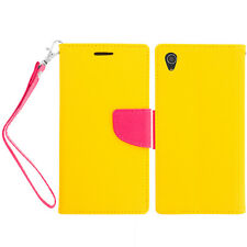 For Sony Xperia Z3 Wallet Flip TPU Case Cover Yellow Hot Pink