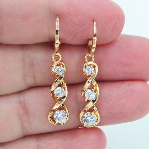 18K or jaune rempli Femmes Clair Topaz Zircon Twist Spiral Dangle Earrings