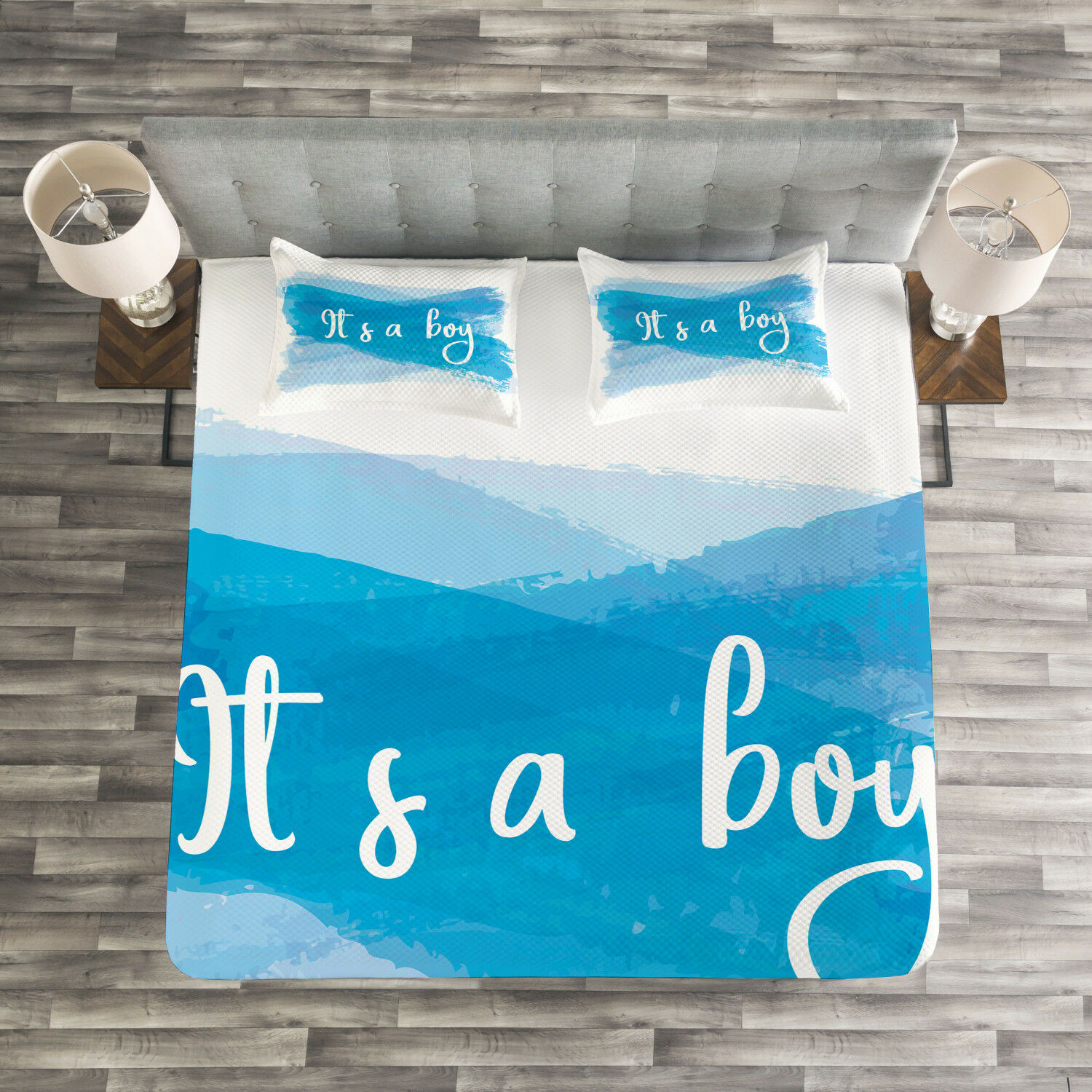Gender Reveal Quilted Bedspread & Pillow Shams Set, It's Boy Abstract Print