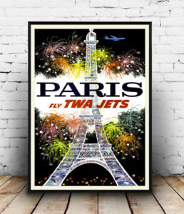 Paris-TWA-Old-Airline-travel-poster-Reproduction-poster-Wall-art