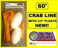 Crab Lobster Trap Line 60' Poly & Two Floats Ne103 Free Usa Shipping