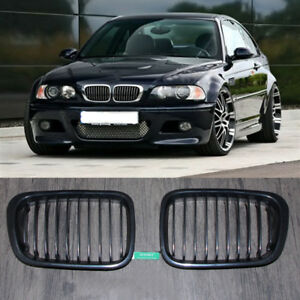 Gloss-Black-Front-Kidney-Grill-Grille-For-BMW-E46-3-Series-4-Door-Saloon-1999