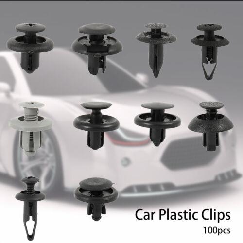 Set 100x Fissaggio Rivetti Nylon Plastica Push Clip Paraurti Per Moto Auto corpo