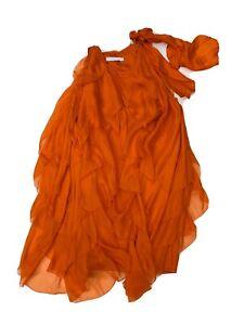 Aurelio Costarella Dress Orange Silk Layered Bow Short Midi 0 Cocktail Party EUC