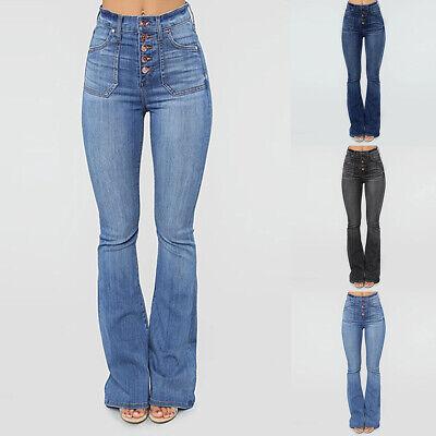 Damen Bootcut Jeans Hose Denim Stretch High Waist Hüfthose Röhrejeans Schlaghose