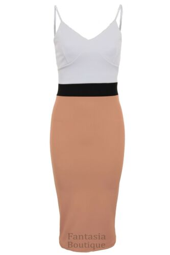 Ladies Strappy Celeb Amanda Contrast Panel Women/'s Pencil Midi Bodycon Dress
