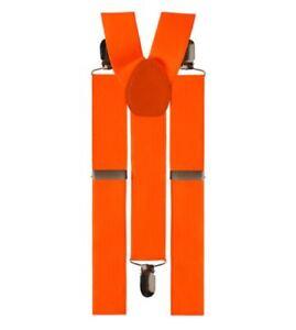 Bretelles-Orange-fluo-Pantalon-Femme-Homme-Enfant-Elastique-Suspenders-Tirantes