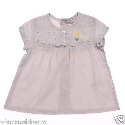 Grain de ble baby girls Sz 6M & 12M 00 0 1 tunic style top NWT grey short sleeve