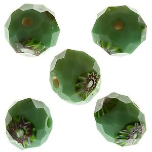 D30//1 White Millefiori Faceted Rondelle Glass Beads 10mm Pack of 5