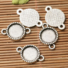 12pcs dark silver color 2side round shaped flower pattern  link connector EF2736