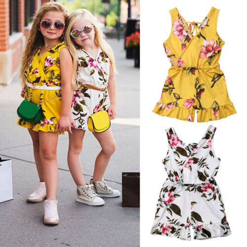 Summer Baby Kids Girls Floral Romper Bodysuit Jumpsuit Outfits Clothes Sunsuit