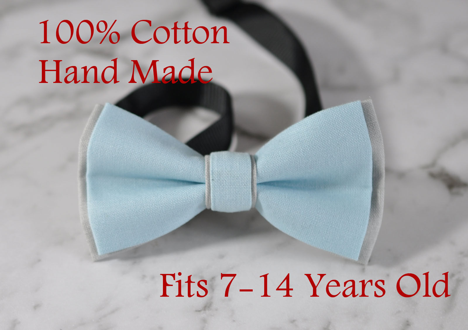 Boy Teenage 100/% Cotton Silver Grey Bow Tie Bowtie Party Wedding 7-14 Years Old