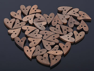 10/50/100 lot Brown Wood Wooden Sewing Heart Shape Button Craft Scrapbooking New