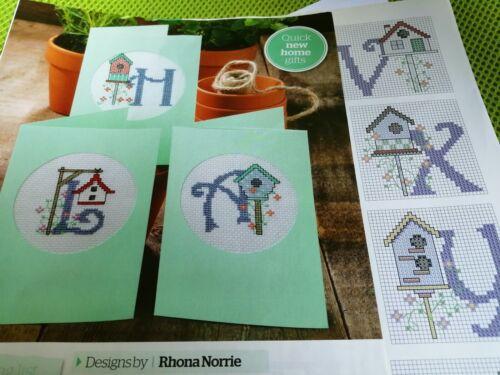 Gráfico de punto de cruz Birdhouse gráficos Pájaro Casa letras del alfabeto