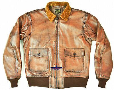 G1 Distressed Brown Goatskin Leather Bomber Aviator Flight Jacket