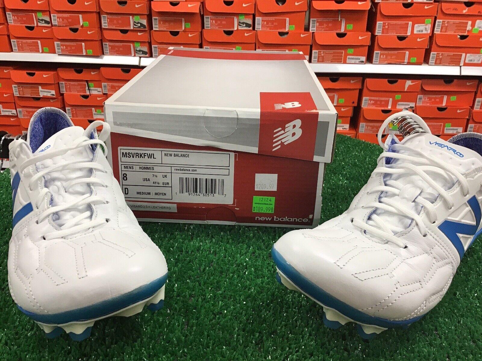 nuovo Balance Visaro 2.0 K Leather FG Soccer Cleats bianca Sz 8 Kangaroo