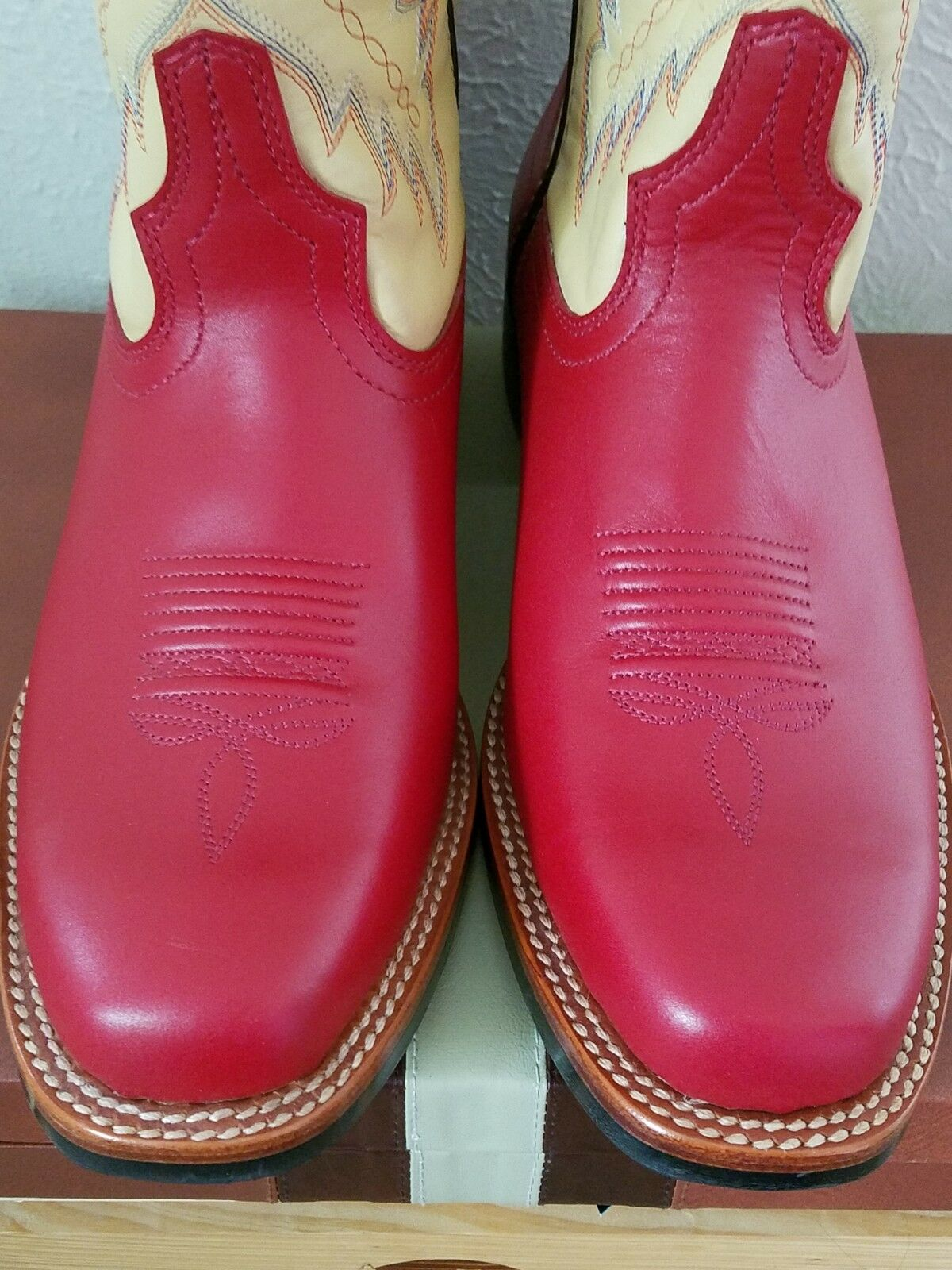RARE Acme Cowboy Boots Red and Tan 9.5 9.5 9.5 US NEW f68d66