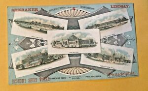 C1880'S  VICTORIAN TRADE CARD 1876 WORLD'S FAIR PICTURES, SHIRT WORKS PHILA,PA