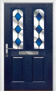 2 Panel 2 Arch Drop Diamond Composite Front Door in Blue Various sizes