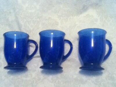 "3 Anchor Hocking Cobalt Blue Glass Coffee Tea Beverage Pedestal Foot 5"" Mug Cups"