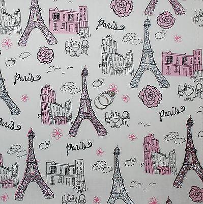 BonEful FABRIC Cotton Quilt PINK B&W Gray Paris Eiffel Tower Rose Flower SCRAP