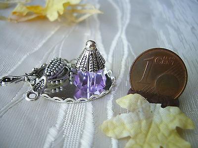=BEAUTY-SET lavendel= Flakon Spiegel Bürste Parfümerie Miniatur 1:10 / 1:12 byHW