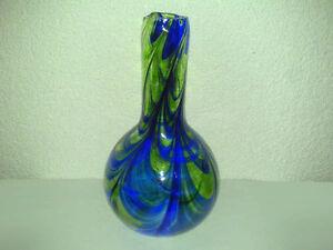 Glas-Vase-Glasvase-Art-Deco-Gruen-Blau-Hersteller-Alter-unbekannt-H-27-5-cm