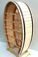 Wooden Wine Rack Barrel Shape For 20 Bottles Bar Stand Shelf, Natural Pine