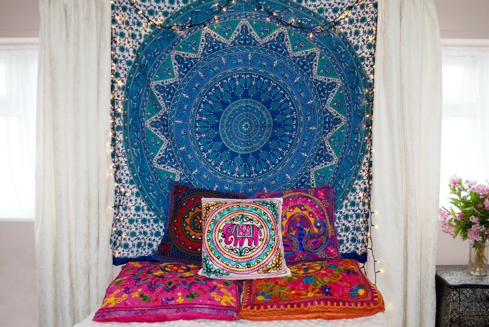 Indian Tapestry Wall Hanging Mandala Throw Hippie Gypsy couverture bohème dortoir DECO