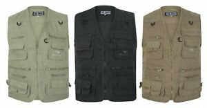 Multi-Pocket-Utility-Vest-Waistcoat-Gilet-Mens-Fishing-Hunting-Shooting-New-3XL