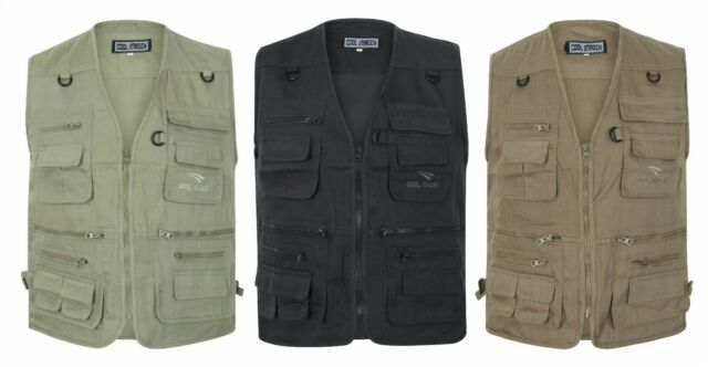 Multi Pocket Utility Vest Waistcoat Gilet Mens Fishing Hunting Shooting New 3XL