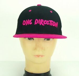 One-Direction-Hat-Adjustable-Snapback-Black-Hot-Pink-Embroidered-Diamond-NEW