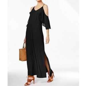 NY-Collection-Womens-Chiffon-Ruffle-Cold-Shoulder-Maxi-Long-Dress-Black-70
