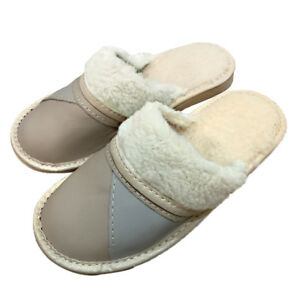 Leather-Sheep-Wool-Fluffy-Beige-Cream-Women-slippers-mules-size-4-5-6-7-8-9