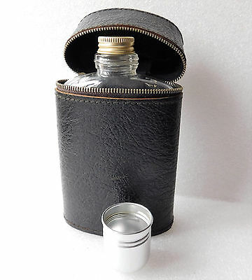 Vintage hip flask with real English leather case Glass spirit bottle tot cup