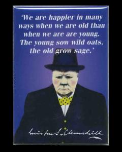"""Winston Churchill-plus heureux quand vieux sage croître Réfrigérateur Aimant 3 /""""x 2/"""""""