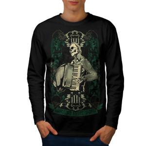 Wellcoda-Hardcore-Night-Herren-Langarm-T-Shirt-Akkordeon-Grafikdesign