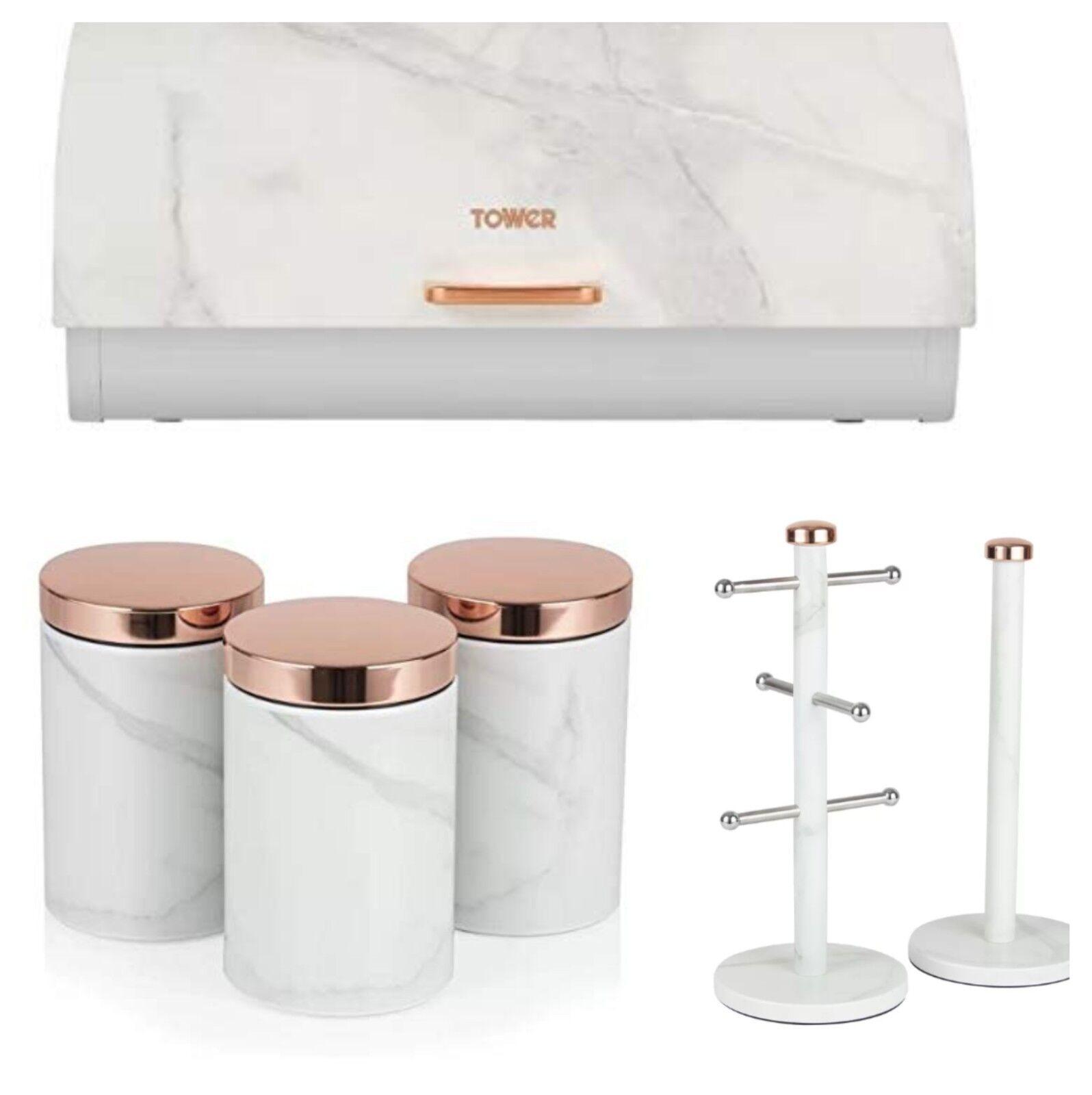 Or Rose & Blanc effet marbre pain Bin, 3 bidons & Serviette POLE & Mug Tree