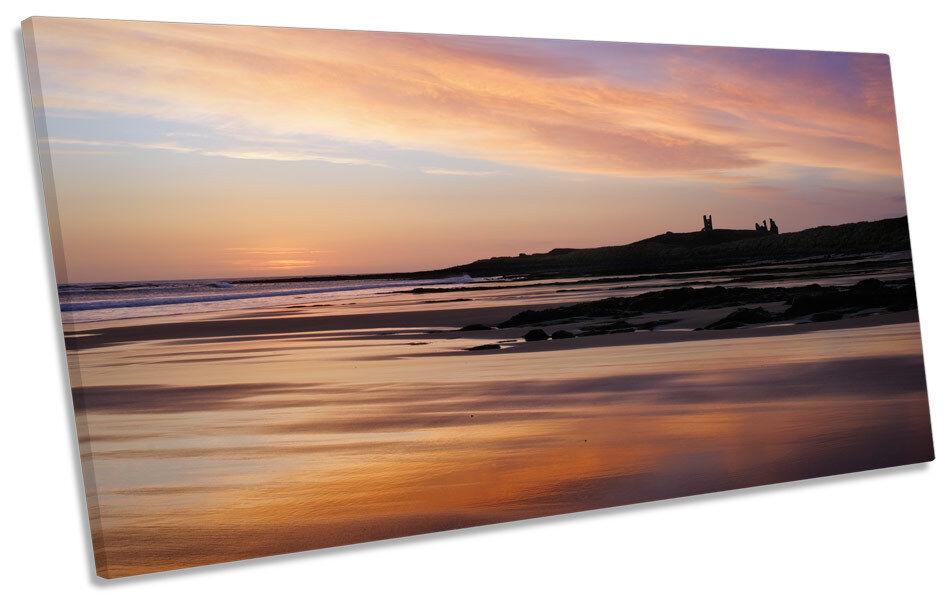 Sunset amanecer Bamburgh Castillo panorámicas de LONA parojo arte arte arte enmarcado impresión 6f21f3