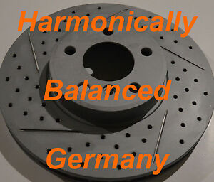 Fits BMW X5 3.0 4.4 Drilled Slotted Rotors Akebono Pads Front Made In Germany