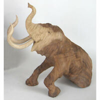 Mammoth Sculpture Statue 12 Solid Suar Wood Carving Animal Figure