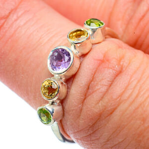 Amethyst-Citrine-Peridot-925-Sterling-Silver-Ring-Size-7-Jewelry-R39081F