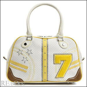Auth Samantha Thavasa New York satchel Handbag 7 Series White and Yellow