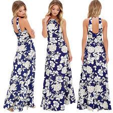 Women Summer Flower Boho Long Maxi Evening Party Beach Sleeveless Dress Sundress