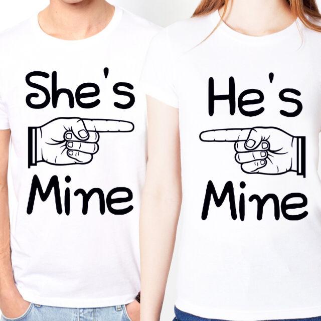 She's Mine He's Mine Love point hand Cute Couple slogan word Unisex Tee t-shirt