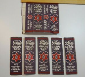 Vintage / BLATZ GRAPE CHEWING GUM WRAPPERS / Val Blatz Brewing Company / 6 Piece