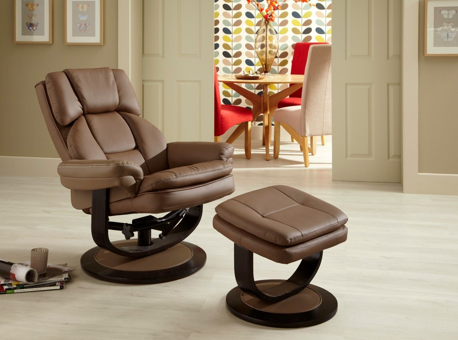 Upton Recliner Chair Swivel Faux Leather Comfort FREE Footstool Various Colours