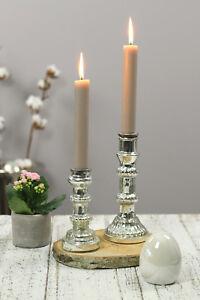 2er Set Kerzenstander Kerzenhalter Kerzenleuchter Silber Glas