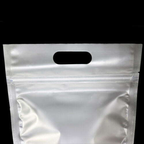 Multi-Size Frosted White Matte Mylar Stand Up Zip Lock Bag w //Hang Hole