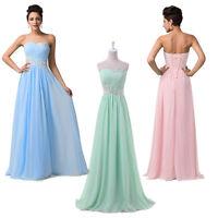 STOCK Long Maxi Prom Evening Bridesmaid Gown Wedding Bridal Party Dress SZ 6-20